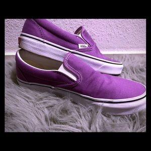 Lavender Vans slip ons worn ones